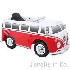camper van elektromobilis 6v volkswagen camper van bus in red žaislai