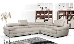 Sectional Sofa With Chaise 2119 Leather Sectional Sofa In Light Grey Free Shipping Get
