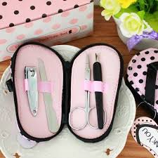 manicure set favors free shipping pink polka purse slippers shaped creative