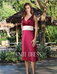 Wine Colored Bridesmaid Dresses Classy Wine Color Column V Neck Ruched Bodice White Waistband