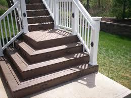 brown outdoor deck stair design using white railing handrail ideas