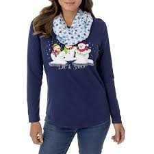 holiday time women u0027s long sleeve christmas graphic t shirt plus