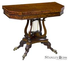 henkel harris dining room a fine classical mahogany card games table with crossed lyres