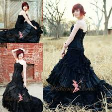 gorgeous corset black bridal gown gothic halloween wedding dresses