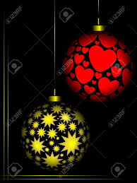 christmas ornaments red and gold colour on black background stock