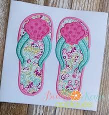 seashell flip flops seashell flip flops 4x4 5x7 6x10 8x8 baby s appliques