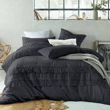 slate boho tassels linen blend quilt cover set temple u0026 webster