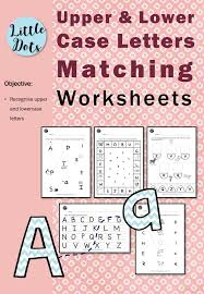 matching uppercase and lowercase letters worksheets little dots