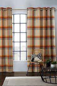 Orange And Brown Curtains Buy Ashworth Woven Check Eyelet Blackout Curtains From Next Kuwait