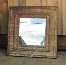 Industrial Bathroom Mirror by Ceiling Tin Tile Mirror Antique Texas Architectural Salvage