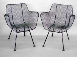 mesh wrought iron patio furniture six wrought iron with mesh dining chairs by woodard for