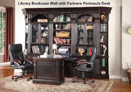 Partner Desk With Hutch House Venezia Library Bookcase Wall With Partners Peninsula