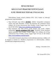 format laporan praktikum pengumuman kelulusan praktikum penetasan ilmu produksi ternak unggas