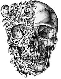cool skull tattoo design drawing png png mart