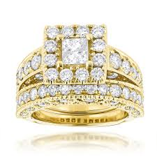 set rings round images Princess cut round diamond engagement ring wedding band set 3 5ct jpg