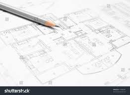architectural blueprint house plan closeup pencil stock photo