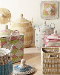 get organized with these bright and beachy baskets lidded to keep