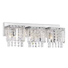 Overstock Wall Sconces Evelyn 3 Light Crystal Strand Wall Sconce In Chrome Finish Free