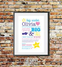 personalised quote gifts personalised big sister gift custom sister poem print girls