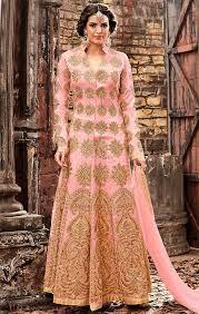 pink embroidered wedding dress buy ephemeral pink embroidered silk dress for reception