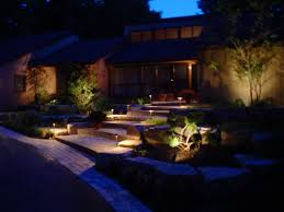 patio outdoor cable and landscape lighting with green garden