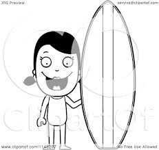 cartoon clipart of a black and white summer with a surf board