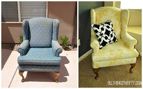Reupholster Armchair Diy Upholstering A Wing Back Chair Upholstery Tips All Things Thrifty