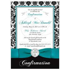 Black White Turquoise Teal Blue by Elegant Confirmation Invitation Black White Damask Printed