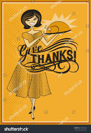 give thanks retro style thanksgiving ad stock vector 153263663