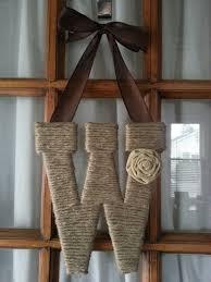Monogram Letters Home Decor Twine Letter Monogram Wreath Initial Wreath Home Decor Wall