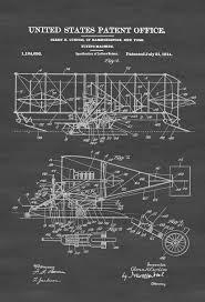 Aviation Home Decor Curtiss Flying Machine Patent Print Airplane Blueprint Vintage