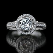 simulated engagement ring 3 4 ct stunning vintage micro pave floating halo engagement