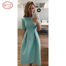2015 fashion women light blue dresses half sleeve ruffles casual