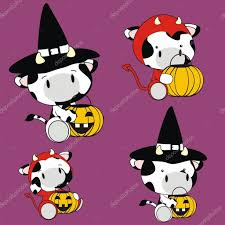 animated halloween clipart cute halloween baby cow cartoon set u2014 stock vector hayashix23