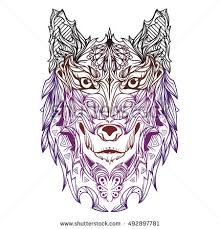 vector indian ornament wolf color line stock vector 492897781
