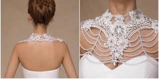 beads wedding necklace images Lace flower beads bridal shoulder chains body chains wedding dress jpg