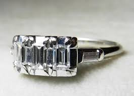 antique engagement ring 80 ct tdw emerald cut diamond 14k white