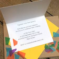 city skyline folded wedding invitations by becka griffin