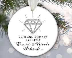 anniversary ornament personalized ornament silver 25th