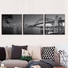 home decor sydney 3 pieces set sydney harbour bridge in grey canvas prints painting