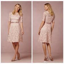 cheap modest bridesmaid dresses blush pink lace bridesmaid dresses half sleeves crew