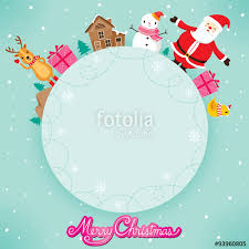 santa claus snowman and reindeer on circle frame merry