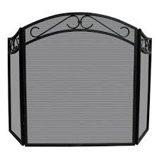 uniflame arch top black wrought iron 3 panel fireplace screen with