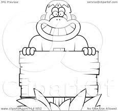 cartoon clipart of a black and white bigfoot sasquatch with a