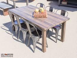this farmhouse table was built using narrow reclaimed douglas fir