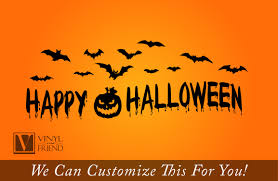 happy halloween with bats and pumpkin vinyl lettering decal for