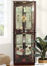 pulaski curio cabinet lighted display mirrored door dining room