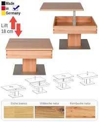 Wohnzimmertisch Lift Couchtisch Brügge 67x67x43 Cm Höhenverstellbar Massivholz