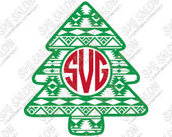 monogram christmas aztec christmas tree monogram cut file for cricut and silhouette