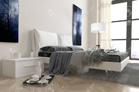 Modern Bedroom Rugs Modern Bedroom Interior With Divan Bed Covered In Rugs